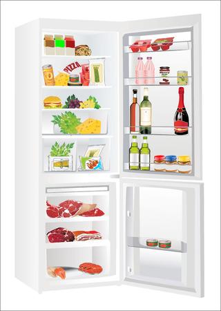 冷蔵庫食品 - 野菜、肉、魚のいくつかの種類でいっぱい