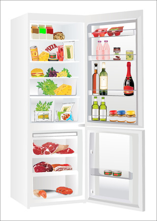 refrigerator full with some kinds of food - vegetables, meat, fish Vector