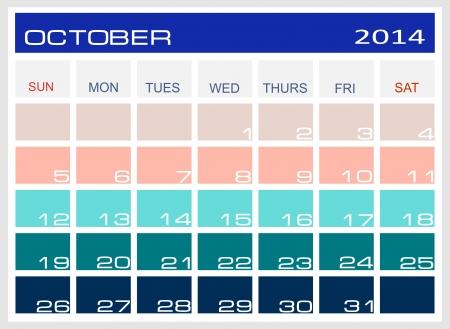kalender oktober: calendar October 2014