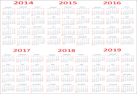 Calendar for years 2014 - 2019, easy editable, weeks start on Sunday Иллюстрация