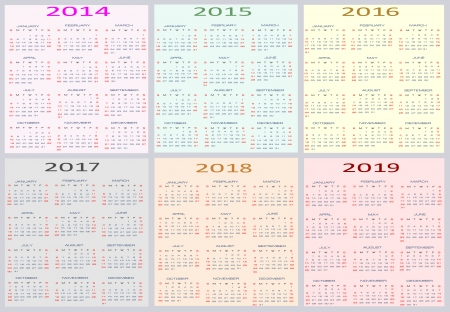 Calendar for years 2014 - 2019, easy editable, weeks start on Sunday Vector
