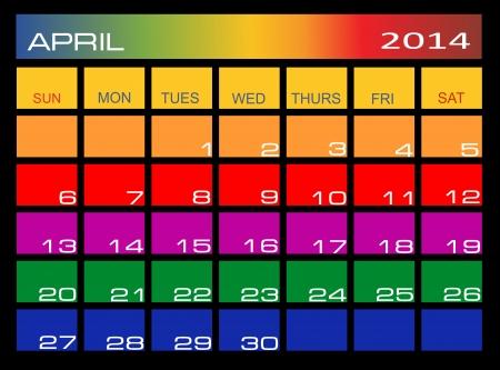 Colorful Calendar April 2014 Stock Vector - 22894240