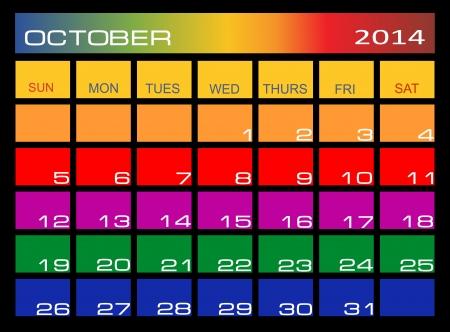 kalender oktober: Kleurrijke kalender oktober 2014