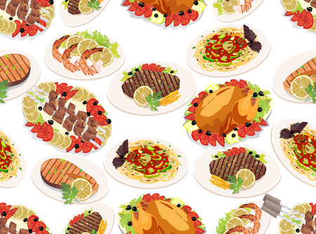 Seamless background with grilled steak, french fries, grilled salmon, shashlik and grilled shrimps Stock Vector - 22894314