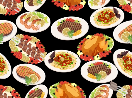 grilled salmon: Seamless background with grilled steak, french fries, grilled salmon, shashlik and grilled shrimps  Illustration