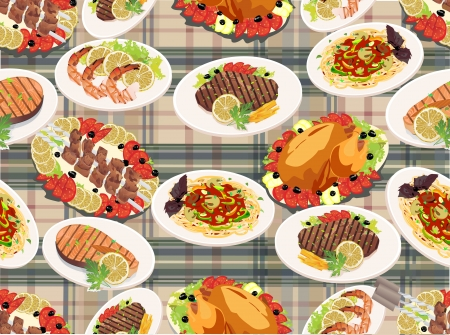 Seamless background with grilled steak, french fries, grilled salmon, shashlik and grilled shrimps  Vector