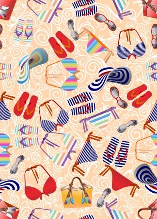 zeitlos: Badeanzug, Badetasche, Badeschuhe nahtlose Hintergrund