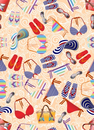blinkers: Swimsuit,beach bag,beach shoes seamless background  Illustration