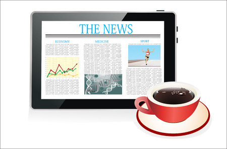 latest: Tablet pc shows latest news on screen and cup of coffee