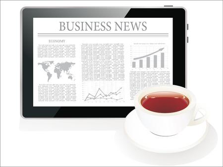 tablette pc: Tablet PC affiche les derni�res nouvelles sur l'�cran et une tasse de caf�