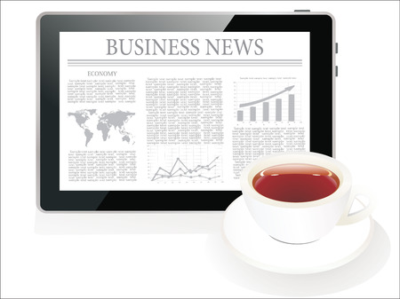 latest news: Tablet pc shows latest news on screen and cup of coffee