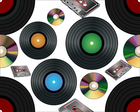 Seamless background with vinyl records, music tape and compact disc Vector