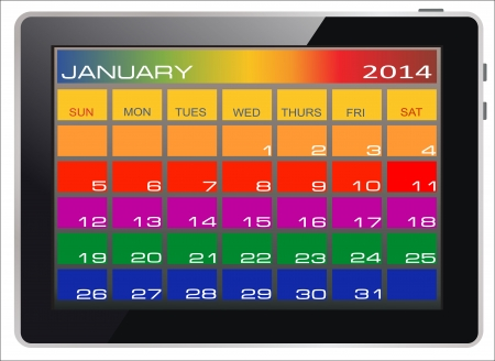 Colorful Calendar January 2014 on the screen of tablet computer Vector