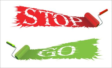 roller brush: Cepillo del rodillo y la palabra Stop and Go Vectores