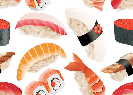 specialities: Sushi seamless pattern