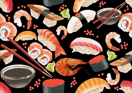 speciality: Sushi seamless pattern
