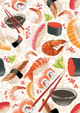 salmon fillet: Sushi seamless pattern