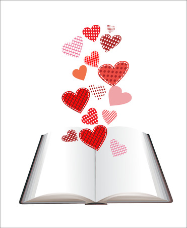 illustration with opened book and hearts