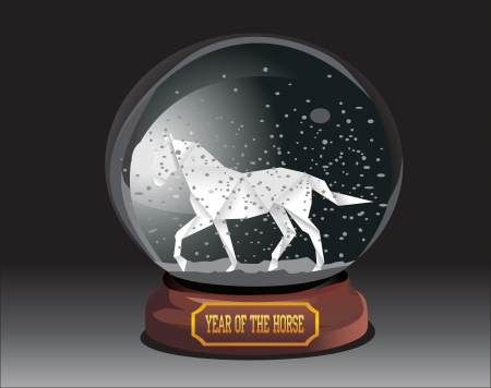 snow dome with horse over black background  Happy new year 2014  Year of horse  Vector