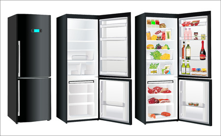 The empty black refrigerator and full with some kinds of food - vegetables, meat, fish
