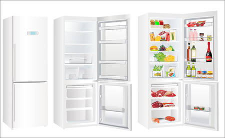 fridge: The empty white refrigerator and full with some kinds of food - vegetables, meat, fish Illustration