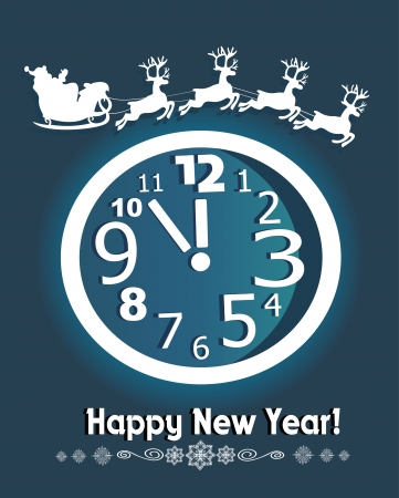 New year card  Christmas clock and Santa Claus driving in a sledge Vector