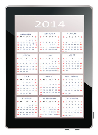 2014 calendar on the screen of tablet computer Vector