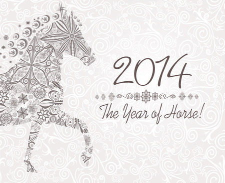 Year of horse  Happy new year 2014  Stock Vector - 23892909
