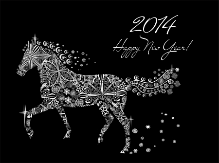 Year of horse  Happy new year 2014  Vector