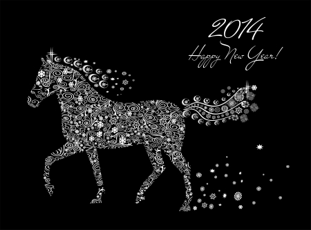 Year of horse  Happy new year 2014  Stock Vector - 23892907