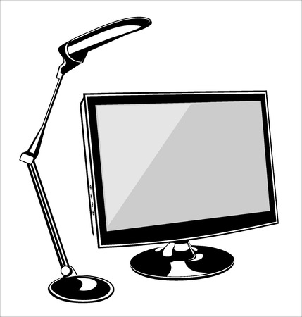 computer monitor and desk lamp Vector