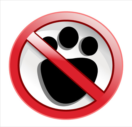 dissuade: paw print with not allowed symbol - no pets allowed
