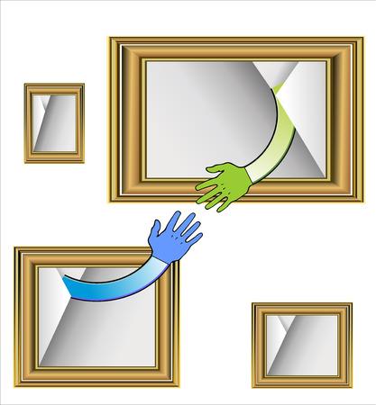 Image of handshake in brown frame Stock Vector - 25032469