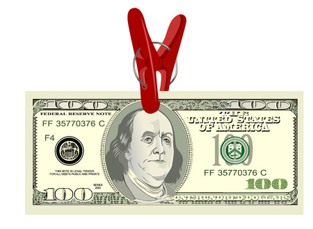 Clothespin and dollar with white background Vector