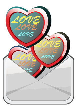 heart into envelope on white background  Vector