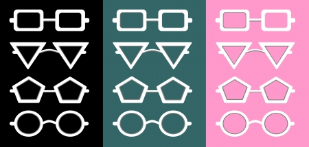 Glasses and Sunglasses silhouettes Stock Vector - 25032300
