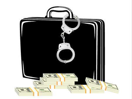 ransom: Criminal money in suitcase  Illustration