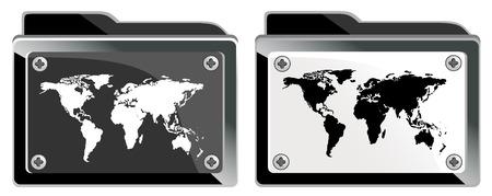 inforgaphic: folder with world map