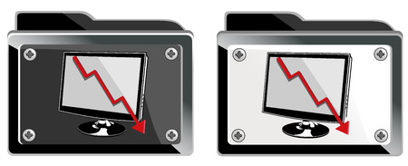 Folder with abstract monitor isolated illustration