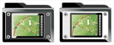 folder or symbol with GPS Icons  Navigation Vector