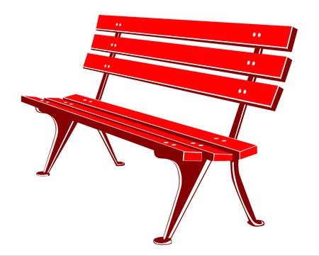 평안한: 빨간색 벤치 일러스트