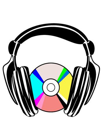 hifi: Music concept with Hi-Fi headphones and CD disc