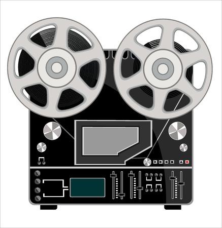 grabadora obsoleta con dos bobinas en blanco