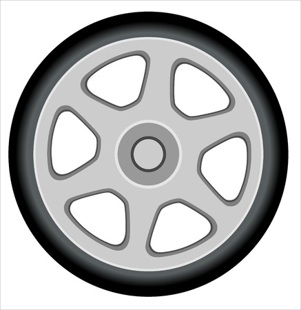 tire cover: car wheel vector illustration isolated on white  Illustration