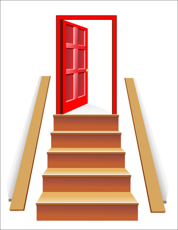 looking away: Stairs in up to an open door the leader to success Illustration