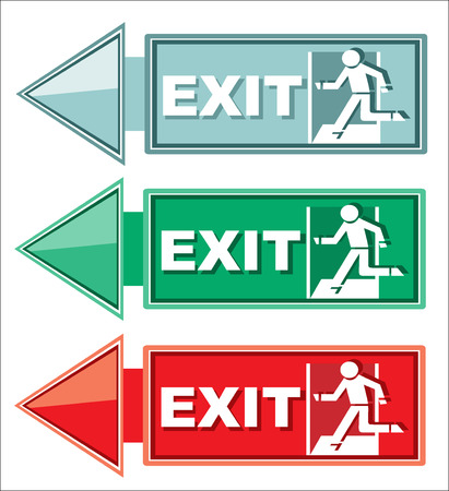 Emergency exit door, sign with human figure on stairs Vector