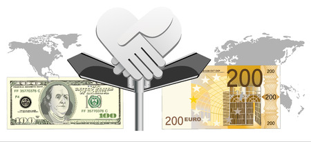 e cash: Cooperation euro and dollar  Conceptual image  Illustration