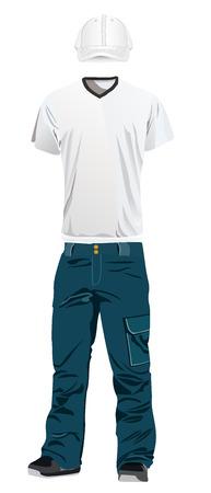 t シャツ、パンツ、キャップのテンプレート