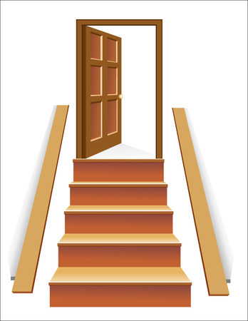 leading light: Stairs in up to an open door the leader to success Illustration