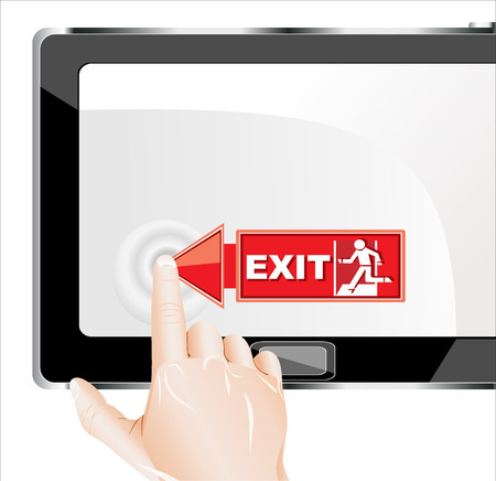 tablet pc in hand: Man hand touching screen exit on modern digital tablet pc